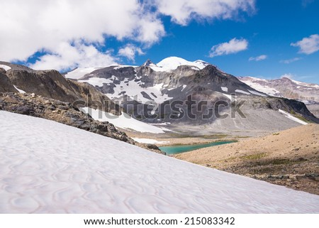 Mount Rainier, lake and Emmons glacier, National Park - stock photo