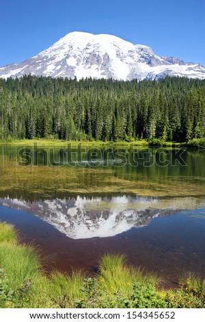 Mount Rainier reflection, Mt. Rainier National Park, WA, USA - stock photo