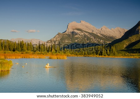 Mount Rundle at Vermillion Lakes on a clear sky day