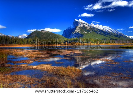 Mount Rundle Reflection on Vermilion Lake, Banff, Canadian Rockies
