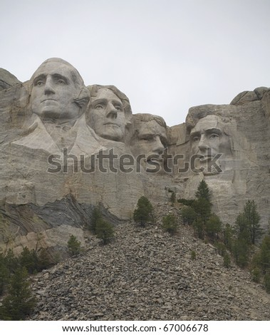 Mount Rushmore as seen from the bottom with rubble - stock photo