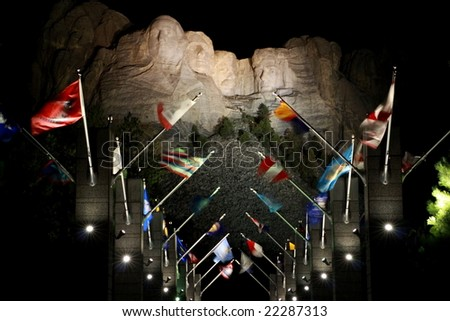 Mount Rushmore at night - stock photo