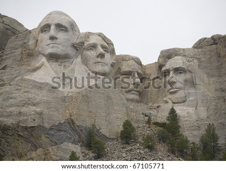 Mount Rushmore in South Dakota as a storm moves in