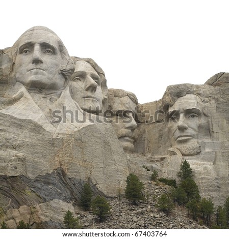 Mount Rushmore in South Dakota that has been isolated - stock photo