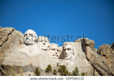 Mount Rushmore monument in South Dakota in the morning - stock photo