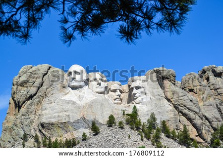 Mount Rushmore National Monument in South Dakota.  - stock photo