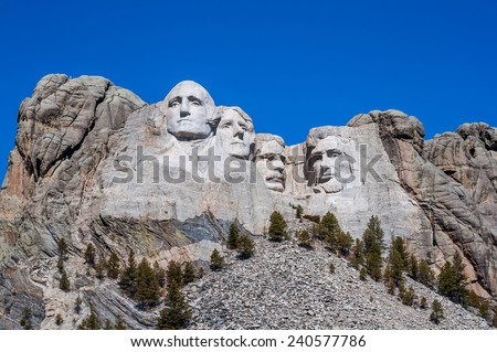 Mount Rushmore National Monument in South Dakota. Summer day with clear skies.kies. - stock photo