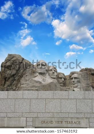 Mount Rushmore - South Dakota. Mountain and Grand View Terrace Wall. - stock photo