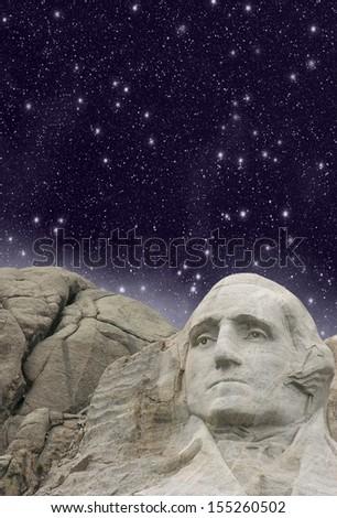 Mount Rushmore, South Dakota. Wonderful starry night above sculptures. - stock photo