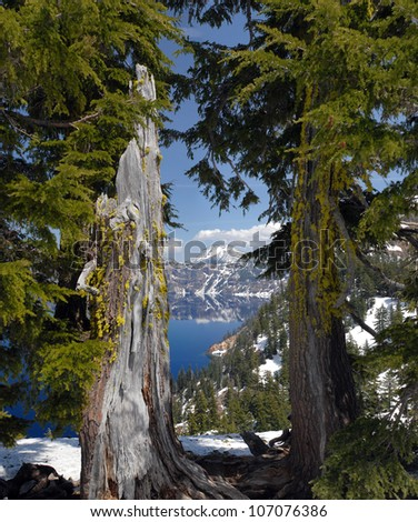 Mount Scott from Crater Lake Lodge - stock photo