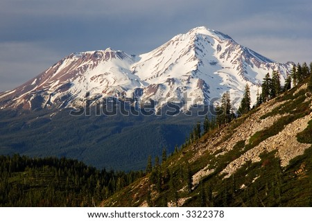 Mount Shasta as seen from Heart Lake - stock photo