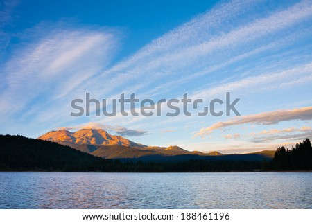 Mount Shasta at sunset - stock photo