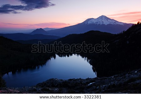 Mount Shasta, Black Butte & Castle Lake - stock photo