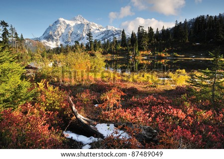 Mount Shuksan in Mt. Baker-Snoqualmie National Forest - stock photo