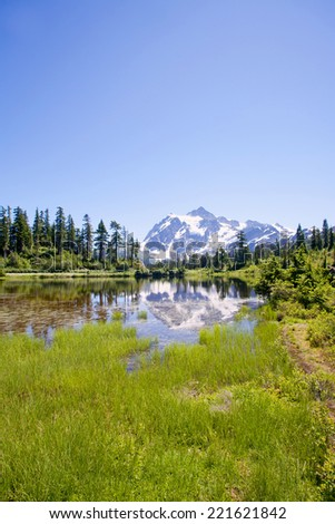 Mount Shuksan view from Picture Lake - stock photo