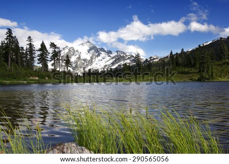 Mount Shuksan viewed from Picture Lake, Washington, USA - stock photo