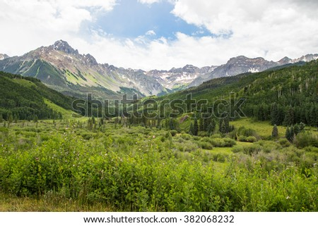 Mount Sneffels Range, called America's Switzerland, near Telluride, Colorado in the San Juan Mountains of the Rocky Mountains - stock photo