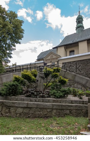 Mount St. Anna, Poland - July 7, 2016: figure of St. Francis in the Franciscan monastery on Mount St. Anna in Poland - stock photo