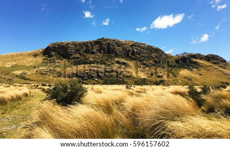 "Mount Sunday that Location of Lord of the Rings city ""Edoras"" in Hakatere Conservation Park, New Zealand"