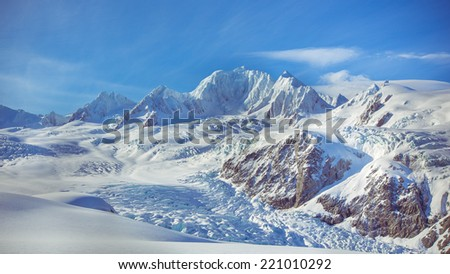 Mount Tasman,Ice mountains,Beautiful snow-capped mountains against the blue sky in Newzealand