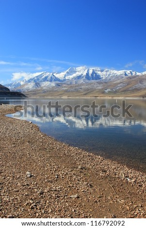 Mount Timpanogos, Utah, USA with fresh snow. - stock photo