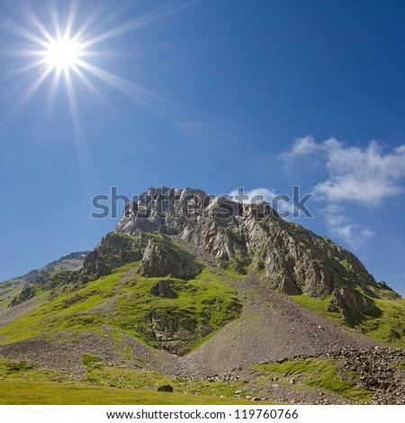 mount top under a sparkle sun - stock photo