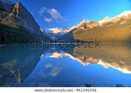 Mount Victoria Glacier Reflection on Lake Louise, Banff, Canadian Rockies - stock photo