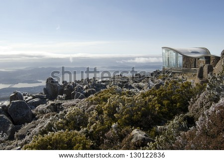 Mount Wellington Observatory or lookout for sightseeing on top of Mount Wellington overlooking the town of Hobart in Tasmania - stock photo