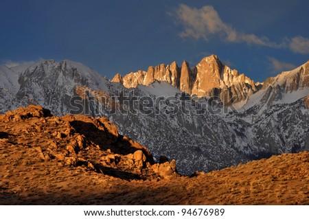 Mount Whitney and the Alabama Hills Eastern Sierra Nevada, California - stock photo