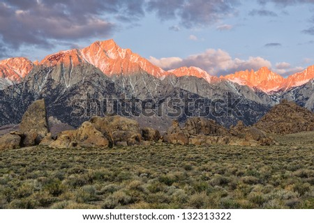 Mount Whitney from the Alabama Hills; Lone Pine, California - stock photo