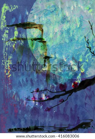 Mountain and Cherry Blossom oriental ink painting - stock photo