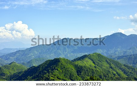 mountain and clouds landscape, Ha Giang, Vietnam - stock photo