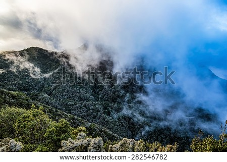 Mountain and clouds over peak in Tenerife Canary island, Spain