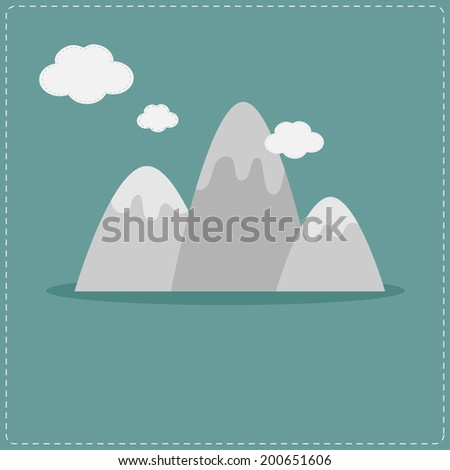 Mountain and clouds. Template. Flat design style.