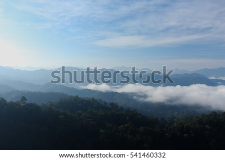 Mountain and fog