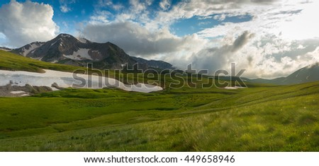 Mountain and foothill fields - stock photo