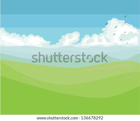 Mountain and green hills with blue sky and clouds Spring view - stock photo
