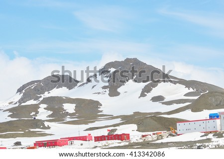 Mountain and snow at King George Island, Antarctica - stock photo