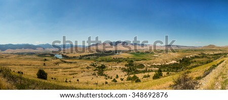 Mountain and Valley View from the National Bison Refuge in Montana - stock photo