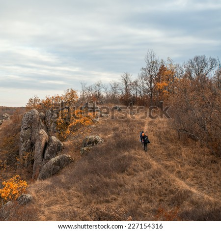 mountain autumn landscape with Southern Bug river - stock photo