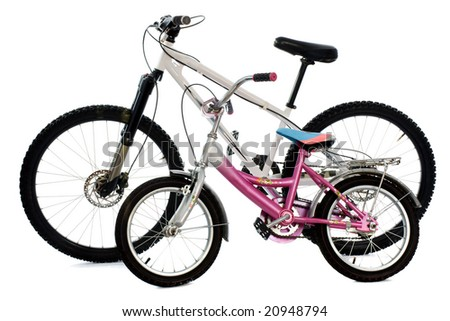 Mountain bike and child bike isolated on white - stock photo