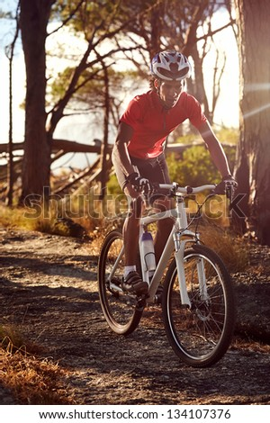 Mountain bike cyclist athlete in forest riding on rocks - stock photo