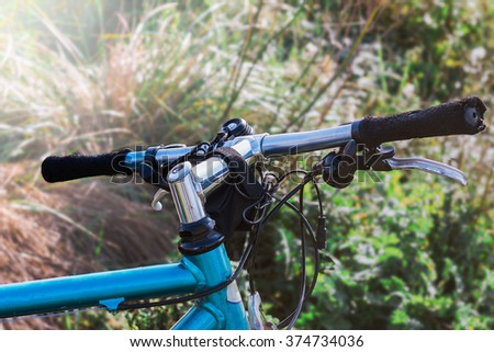 Mountain Bike Handlebar, selective focus - stock photo