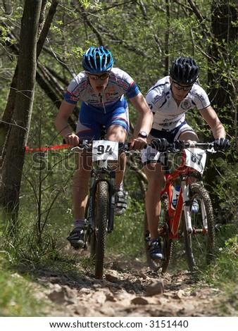 mountain bike race - stock photo