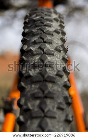 Mountain Bike Tire Close-up - stock photo