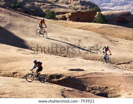 Mountain biking becomes a family sport in Moab, Utah - stock photo