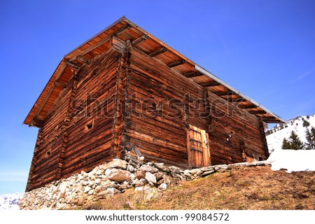 mountain cabin in the Alps - stock photo