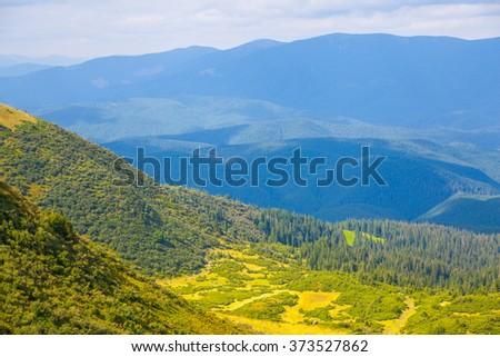 Mountain Carpathians landscape in Ukraine, Svydovets ridge - stock photo