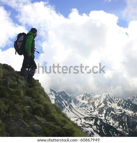 Mountain climbing - stock photo