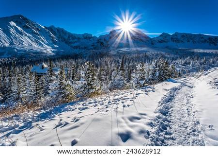 Mountain cottage in winter mountains - stock photo